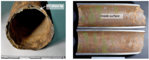 Photographs of the drill pipe showing the fracture surface (left) and necking (right) adjacent to the fracture. Scale divisions are in inches.