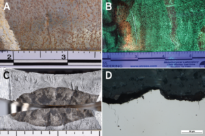 Figure 1 shows outside surface pits and a circumferential crack (a), circumferential indication from WFMT (b), crack surfaces (c) and unetched photomicrograph (d). Scale divisions are in inches.