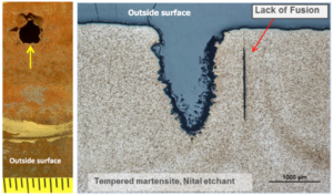 Photograph (left) showing a perforation in casing and photomicrograph (right) showing lack of fusion weld defect.