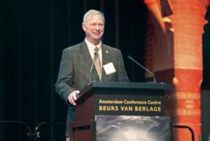 Mike Killalea, IADC Group VP/Publisher, speaks at IADC World Drilling 2017 in Amsterdam on 28 June. Mr Killalea has worked to add 3D games and interactivity to the Drilling Matters website this year. The educational website aims to inform the general public about the importance of drilling and hydrocarbons.