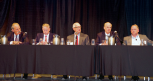 A panel of operators with assets in the Permian shared their perspectives and outlook on the challenges and opportunities at the IADC Shale Energy Workshop on 13 September in Midland, Texas. From left are Steve McCoy, Latshaw Drilling (moderator); Mike Hollis, Diamondback Energy; Joe Wright, Concho Resources; John Willis, Occidental Oil and Gas; and Joey Hall, Pioneer Natural Resources.