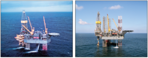 The J.P. Bussell (left) and the Hank Boswell (right) are both expected to be contributed to ARO Drilling, the JV between Rowan and Saudi Aramco.