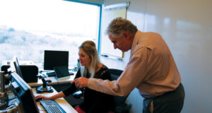 Mr Venettozzi reviews the database of WellSharp Well Servicing test questions, as well as well servicing simulations, with Brooke Polk, IADC Director of Program Development and Technology.