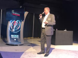 John Clegg, Director of Research, Development and Engineering at Weatherford, introduces the new Magnus rotary steerable system on 26 April in Houston.