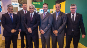 IADC met with representatives of Brazil's Ministry of Mines and Energy during the 2018 OTC on 30 April in Houston. From left are Cristiano Franco Berbet, Counselor, Deputy Consul General; Mike DuBose, IADC VP of International Development; Marcio Felix, Deputy Minister of Mines and Energy; Jason McFarland, IADC President; João Vicente de Carvalho Vieira, Secretary at the Ministry of Mines and Energy; and Roberto Paschoalin, IADC Regional Advisor for Brazil.