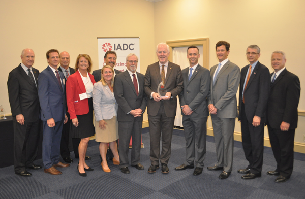 From left to right: Bob Warren; Mike Lawson, Rowan Companies; Mike Bowie, Baker Hughes, a GE company; Terry Bonno, Transocean; Liz Craddock, IADC; Mike Garvin, Patterson-UTI; Steve Brady, Ensco; Senator John Cornyn (R-TX); Jason McFarland, IADC; Chris Menefee, Independence Contract Drilling; James Sanislow, Noble Drilling; Scott McKee, Cactus Drilling