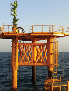 A retrofit conductor-supported platform was installed on an appraisal well offshore Bahrain using a jackup rig.