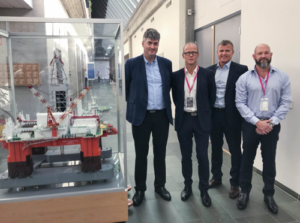 Jakup Øregaard (left), head of international and exploration drilling in Equinor, Tommy Johnsen, vice president of Seadrill Europe, Kolbjørn Kanebog, rig manager West Hercules, and Dave Morrow, senior vice president of Seadrill Eastern Hemisphere. (Photo: Kjetil Eide)