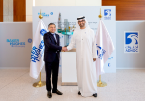 Lorenzo Simonelli, BHGE Chairman and Chief Executive Officer, and Dr Sultan Ahmed Al Jaber, UAE Minister of State and ADNOC Group CEO.