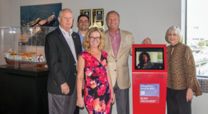 IADC donated a Drilling Matters kiosk to the Ocean Star Rig Museum in late June. From left are Bob Warren, IADC; Anthony Garwick, IADC; Lisa Lisinicchia, Ocean Star Rig Museum; Mike Killalea, IADC; and Sandra Mourton, Ocean Energy Center.