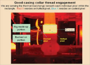 """Figure 1 shows a good makeup of a casing connection with a """"bucked-on"""" collar. Using thermal imaging, the STVS shows the connection's uniformity of color throughout the box outlined in blue. Below this area is the portion of the connection that was """"bucked on,"""" which does not appear to have a temperature appreciably different from that of its surroundings – this is because that portion of the connection is not moving. This is how a good casing connection should look."""