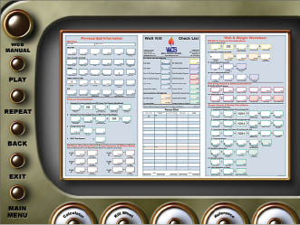 A module (above) shows the kill sheet used to record well data and calculate various parameters to kill a well, and the simulation module (below) shows students a subsea kill operation using a choke panel to control pressures.