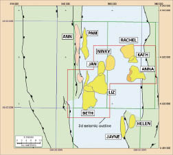 Source: Desire Petroleum This map shows a selection of Desire Petroleum's Falklands prospects. The company believes the region has a recoverable potential of 3.5 billion-plus bbl of oil and 9 trillion-plus cu ft of gas.
