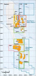 This map of the North Falklands Basin shows license distribution between different companies. The water depth here is generally shallow, less than 450 m, with shallow drilling targets in the range of 1,500 m to 3,000 m. Source: Desire Petroleum