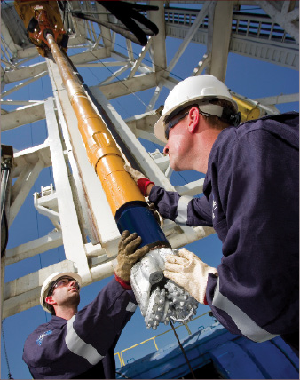 Technicians test drilling equipment at the Baker Hughes beta rig in Oklahoma. The test facility allows Baker Hughes to accelerate new technology development.