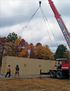 the mobile AltelaRain system is off-loaded at a BLX gas well site in October 2009.