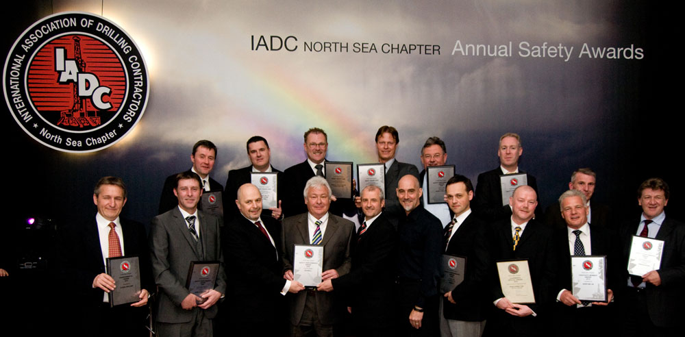 The 2010 IADC North Sea Chapter safety awards were announced on 14 May in Aberdeen. Back row, from left, are: Alan Stewart, Sureclean; Mark Cowieson, Seawell; Tom Gravemaker, Noble Drilling; Bram van Zelm, Noble drilling; Gert-Jan Windhorst, Noble Drilling; Jon Bryce, Odfjell Drilling; and Tom Whelan, Transocean. Front row, from left, are: Malcolm Rattray, Stena Drilling; Steve Coghill, Noble Drilling; Kenny Dey, Seawell; John Monks, Northern Offshore and Chairman IADC North Sea Chapter; Gary Holman, Seawell; James McCallum, Senergy; Gilles Luca, Ensco; Ron Charlton, Odfjell Drilling; Ian Aitchison, Aker MH; and Dave Walls, Transocean.
