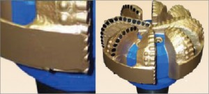 Figure 1: In earlier industry attempts to design a bit to drill challenging salt intervals in the Gulf of Mexico, fixed-cutter bits with a gauge ring were developed to improve directional response by improving the lateral stability of the bit, reducing the propensity of the bit to whirl. By minimizing lateral vibration, the ring bit reduces torque fluctuations that can occur due to bit whirl. This reduces the potential of the bit to laterally over-engage the formation, which can cause issues with the directional tool.