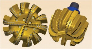 Figure 4: The newly engineered 26-in. E1019-A addresses limitations of earlier large-diameter salt-drilling bits. The 10-bladed bit has 10 nozzles and 19-mm cutting elements. On its first run in salt, the bit drilled 968 ft at 53 ft/hr.