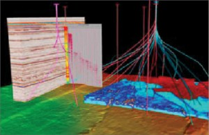 To improve its seismic-while-drilling service, Halliburton is working on connecting the real-time environment of acquisition software with the interpretive environment of earth modeling software.