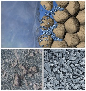 These photos illustrate Baker Hughes' MAX-BRIDGE water-based drilling fluid system, which is comprised of MAX-SHIELD (lower left), LC-LUBE (lower right) and LC-LUBE Fine, which synergistically plug and seal pore throats and fractures in depleted sand and limestone formations. MAX-SHIELD helps seal micro-fractures in a Pierre II shale. This system is one of the advances in water-based fluid systems.
