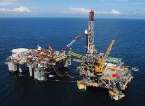 Atwood's semisubmersible tender Seahawk is working alongside one of HESS' mini tension-leg platforms (TLP) in the Okume field offshore Equatorial Guinea.