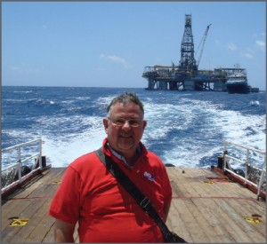 Gert-Jan Windhorst, Noble Drilling manager health, safety, environment & quality, Europe, is transported from the Noble Homer Ferrington after an inspection in summer 2009.