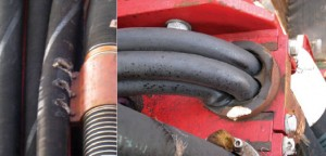 Figure 1: Most cables have trouble supporting their own weight if suspended vertically for many meters. Above left is a gouged instrument service loop, and above right are crushed instrument cables. Wireless control systems can help to eliminate the complex routing of trailing communication cables between moving and stationary components.