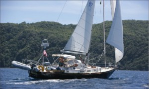 """When asked how he stays active in the industry, Charlie Springett responded, """"Other than passing the occassional drilling rig in my sail boat Ariel (above), I don't."""""""