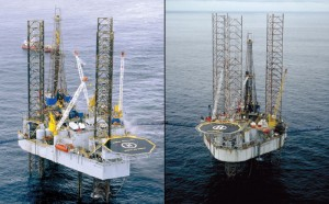 The Noble Ed Noble (left) and the Noble Percy Johns were both recently awarded new two-year contracts by ExxonMobil for work offshore Nigeria.