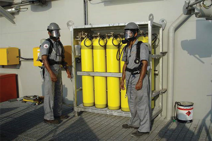 Figure 4: Respiratory protective equipment for H2S, such as this breathing air system, should be selected=