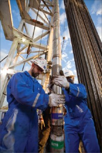 Schlumberger engineers prepare the PeriScope bed boundary mapper service in the Permian Basin.