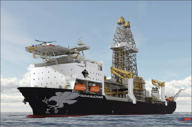 The Ocean BlackHawk (rendering) ultra-deepwater drillship is scheduled to be delivered to Diamond Offshore in Q4 2013. The vessel will be capable of operating in 12,000-ft water depths.