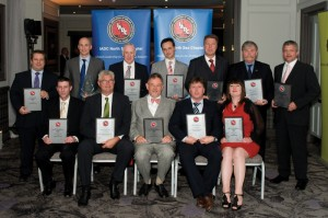 Safety winners received IADC North Sea Chapter awards in Aberdeen on 13 May. Front row from left are: Steve Coghill, Bert Ruhl, Gert-Jan Windhorst and Bert de Bree, all with Noble Drilling; and Gwen Morrison, Transocean. Back row from left are: Tom Bruce, Stena Drilling; Tony Hinchliffe, Archer; Nicol Ross, Diamond Offshore; Gilles Luca, Ensco; and Tore Larsen, Paul Horne and Gavin Sutherland, all with KCA DEUTAG.