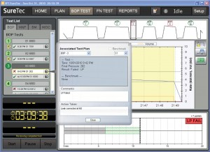 Figure 4: This screen illustrates the clear presentation of corrective actions for a failed low-pressure test.