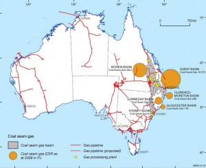 Estimates of Australia's reserves of CSG increased by about 60% in one year to about 26,000 PJ in December 2009, according to an Australian study. Courtesy of Geoscience Australia