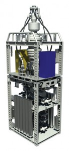 A graphic rendering shows the seven-ram Cameron stack that will be used to equip Rowan's two drillships. The BOP will incorporate full acoustic backup control.