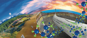 Schlumberger's FUTUR active set-cement technology self-heals from the time it is placed until the end of the well's operational life and into abandonment. The image illustrates the chemical reaction that the cement undergoes during setting and when there is an invasion of hydrocarbons. FUTUR reacts with seeping hydrocarbons to create an impermeable barrier.