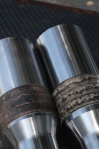 The company launched its casing-friendly TCS 8000 hardbanding (left) in 1998 in response to an increase in extended-reach drilling. The newer, TCS Titanium products (right) was designed for more challenging well environments.