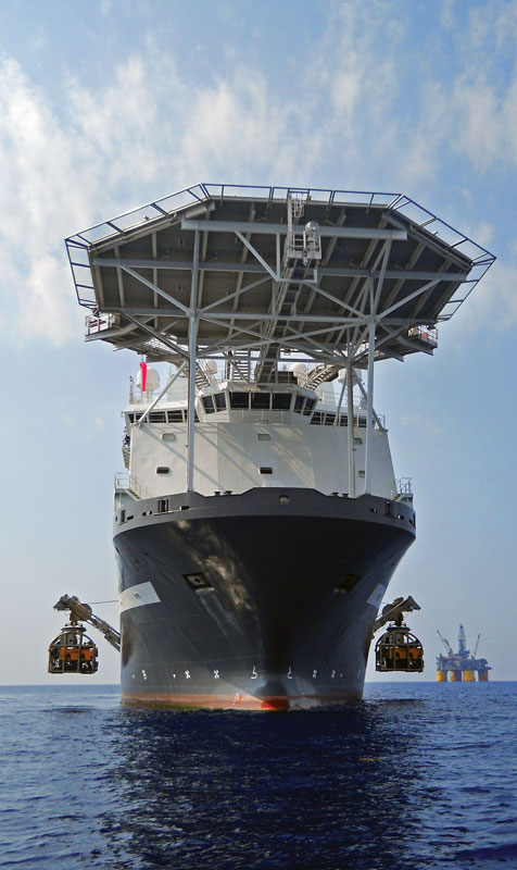 Two Oceaneering Millennium remotely operated vehicles in the Gulf of Mexico are used for maintenance work for a tension leg production platform, the Olympic Intervention IV, which was chartered since it was built in 2008 by Oceaneering.