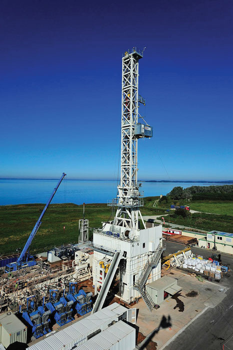 KCA DEUTAG's Rig T-207 is working in Poland's Orzechow shale gas play. The skiddable, 1,500-hp rig can drill wells up to 18,000 ft and has an automatic drawworks control system and automatic driller.