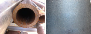 Figure 3: As-rolled production casing can be corroded and have a relatively rough ID surface. Pits, crevices and other surface defects are often visible in the ID of as-rolled casing.