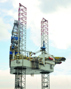 The Noble Mick O'Brien, the first of six JU 3000N ultra-high-spec jackups under construction for Noble, arrived in the Middle East in September. The rig is rated for 400-ft waters and drilling depths of 35,000 ft.