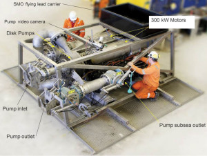 A key component of the Riserless Mud Recovery (RMR) system is the subsea pump module, which houses the electric motors that drive the pumps, pressure compensation equipment, a camera and hydraulic-power supply and accumulator, which opens and closes the valves.