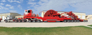 The coiled-tubing reel trailer includes a jeep and booster with 25,000 ft of 2 3/8-in. capacity. NOV Hydra Rig has been building some of the world's largest mobile coiled-tubing units for fracturing jobs, cleanouts and workovers for US shale plays.