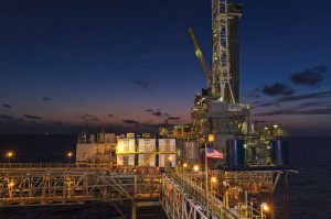 Nabors platform rig P-17, contracted by Energy XXI, is drilling development wells in the mature West Delta play on the Gulf of Mexico shelf.