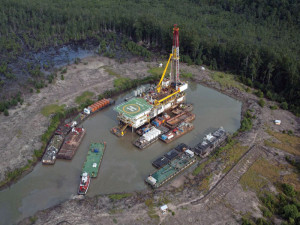 Depthwize's Majestic swamp barge is one of two the contractor has in operation. The barge is under a three-year contract that began in May 2012 with Conoil. The 3,600-hp cyber-drilling rig with variable frequency drive features 2,200-hp quadraplex mud pumps. It has an 850-ton top drive system, can drill up to 35,000 ft and can operate in water depths between 9 and 25 ft.