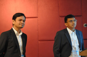 At the 2014 IADC/SPE Asia Pacific Drilling Technology Conference in Bangkok on 26 August, Khairul Nasrudin (left) and Mohd Abshar of PETRONAS Carigali discussed a fit-for-purpose drilling fluid that was used to drill an ultra-HPHT, deep gas exploration well.