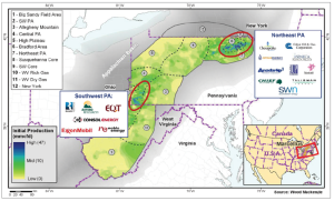 In the Marcellus, rig activity is concentrated in two areas: Northeast Pennsylvania and Southwest Pennsylvania. Although wells in the Northeast are strictly dry gas, the amount of production from the wells is driving the economics, having as much as a 14 bcf average per well for an expected ultimate recovery, according to Wood Mackenzie. In the Southwest, the wells are not as productive, but the economics are uplifted by the NGL component of those wells' production.