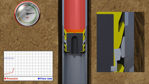 Figure 4 A pressure spike created at surface helps to determine the remaining displacement needed to bump the plug into place.
